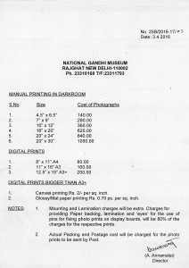 Photo Section Rate List